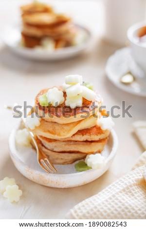 Breakfast dessert pancakes making berries blueberries red currants waiting for Kalki food table for kids white home appel Photo stock ©