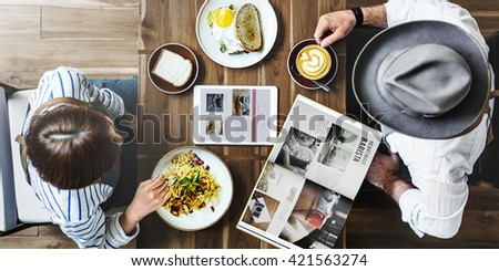 Breakfast Eating Food and Beverages Restaurant Concept