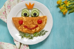 Breakfast for kids - frog princees omelette with vegetables