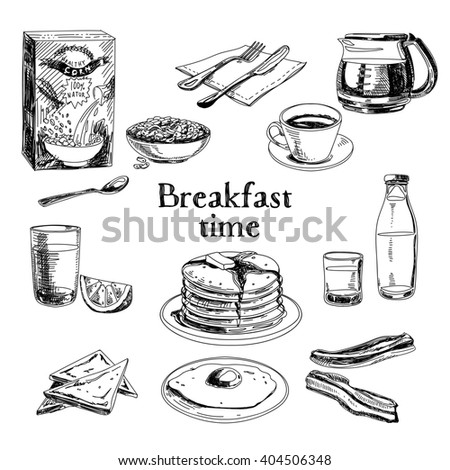 breakfast hand drawn set....