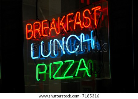 Breakfast - Lunch - Pizza neon sign at night