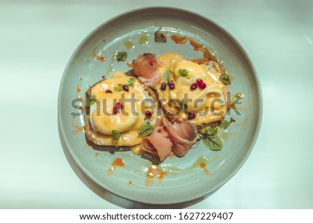 Breakfast meals with smoked salmon as a key element of the meal.