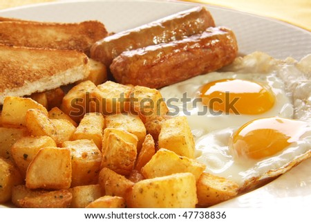 Breakfast of eggs, sausages, toast and hash browns. Also available with bacon.