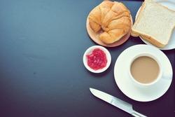 Breakfast on blackboard with copy space.