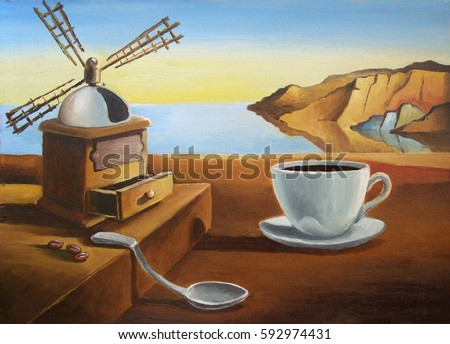 Breakfast on the beach. Metaphysical landscape with a cup of coffee. imitation painting Dali. Illustration, oil, cardboard.