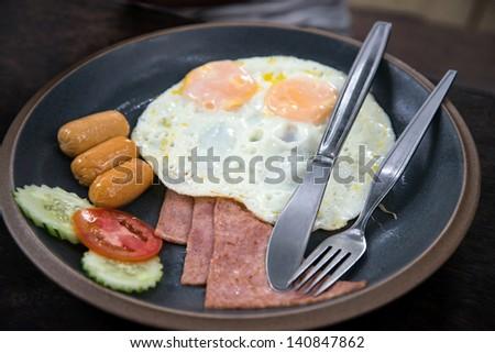 Breakfast - Sausage, eggs, ham
