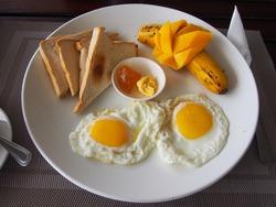 Breakfast set, Sunny-Side Up Fried Eggs, Sandwich, Mango, Banana, and Jam, Nalusuan Island, Cebu, Philippines