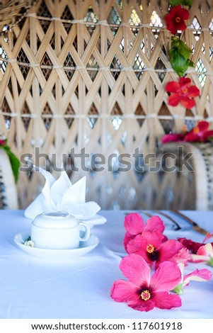 Breakfast table beautifully decorated with flowers