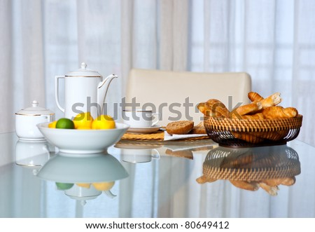 breakfast table with coffee cup and bread basket