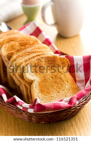 Breakfast. White toasted bread in basket.