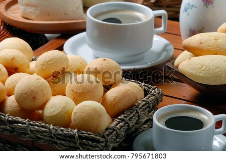 Breakfast with cheese bread, cheese and coffee