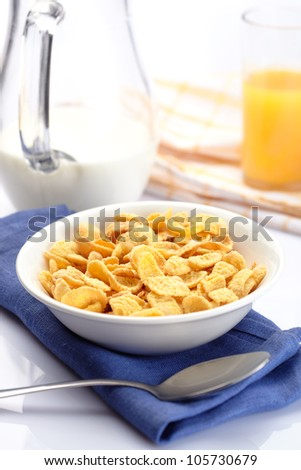 Breakfast with corn-flakes #105730679