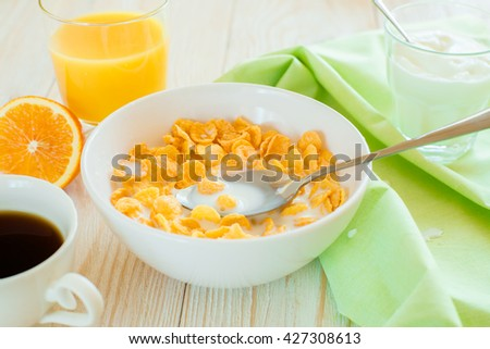 Breakfast with corn flakes #427308613