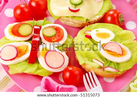 breakfast with cottage cheese for child with butterfly and chicken  shape sandwich