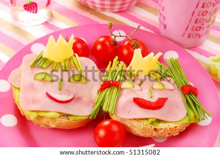breakfast with cottage cheese for child with king and queen shape sandwich
