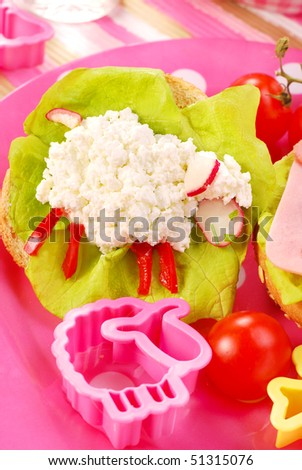 breakfast with cottage cheese for child with sheep shape sandwich