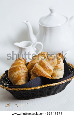 breakfast with croissants and tea