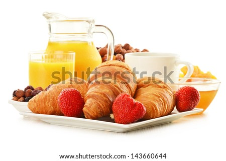 Breakfast with croissants, cup of coffee and fruits isolated on white
