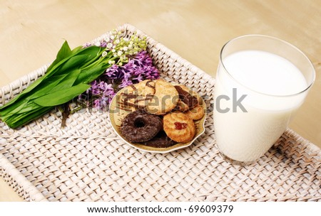 Breakfast with milk and cookies