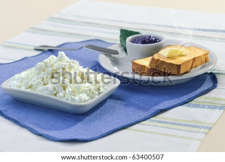 breakfest in the morning with card, jam and toast