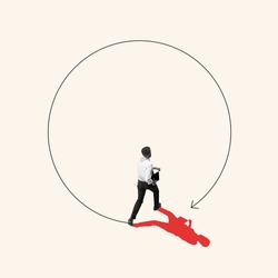 Breaking circle of problems. Business concept. Young manager, finance analyst or clerk in office suit isolated on light background. Collage, art work, illustration. White and red