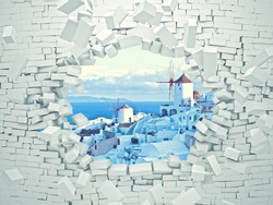 breaking 3d wall and santorini landscape