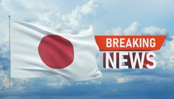 Breaking news. World news with backgorund waving national flag of Japan. 3D illustration.