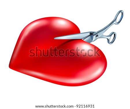 Breaking off or break up symbol of couple in crisis ending a love relationship as a rejection and painful separation of a romantic partnership as a red heart being cut in two by scissors on a white.