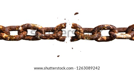 Photo of  Breaking old rusty chain. Weakest link concept photomontage