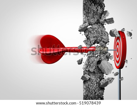 Breaking Through for success without limits and overcoming obstacles as a concrete wall to achieve a goal as a metaphor for a cure or business goals and target with 3D illustration elements.
