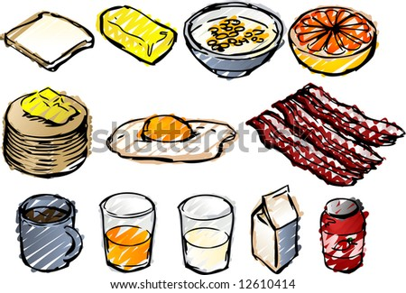 Breaksfast clipart illustrations done in sketchy hand-drawn look