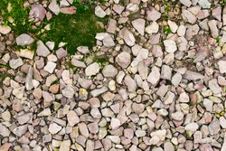 Breakstone with green moss background texture.