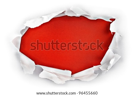 Breakthrough paper hole with red background.