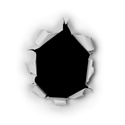 Breakthrough torn big black hole in rough paper isolated on white background.