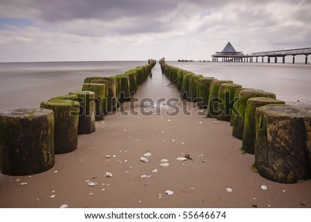 Breakwater, Baltic Sea - stock photo