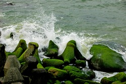 Breakwater grown with moss and wave motion at Yin Yang Sea, Taiwan.