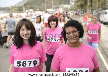Breast cancer awareness charity race: Women in pink