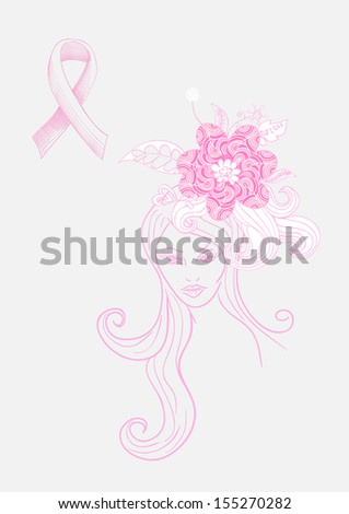Breast cancer awareness concept: Beautiful Woman with flowers hand drawn illustration.