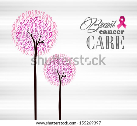 Breast cancer awareness conceptual forest with pink ribbons.