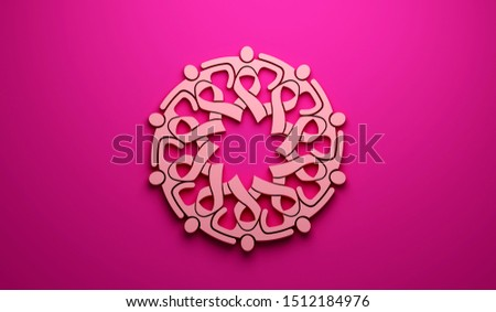 Breast Cancer Awareness Group of Women Pink Ribbon. 3D Render Illustration ribbons grouped in a circle