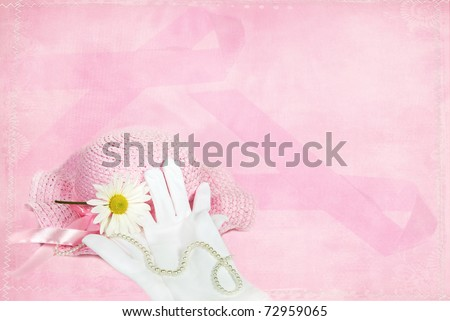 breast cancer awareness ribbon background with pink hat