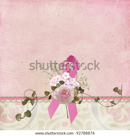 breast cancer awareness ribbon with flower bouquet
