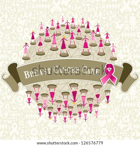 Breast cancer care globe awareness with women teamwork on icon set background.