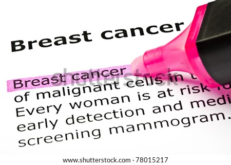 Breast cancer highlighted with pink marker.
