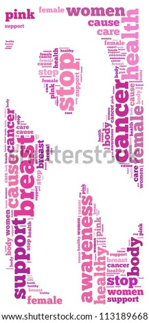 Breast cancer info-text graphics and arrangement concept on white background (word cloud)