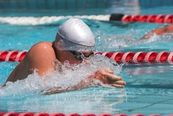 Breaststroke swimming in the national championchips gala