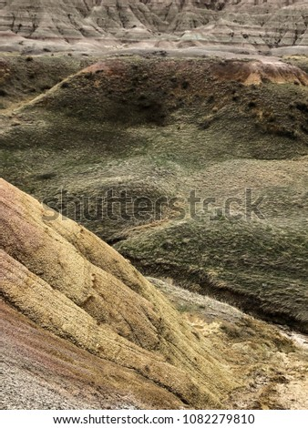 Breath-taking view of mountains at Badlands National Park in South Dakota #1082279810