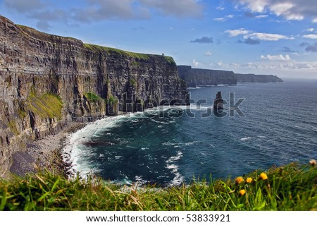 breathtaking irish seascape famous cliffs mohair, west of ireland. moher wild atlantic way