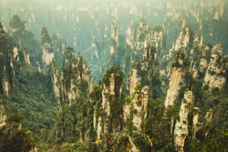 Breathtaking of mountain top view scenery at Zhangjiajie National Forest Park, China