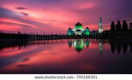 Breathtaking sunset at The Strait Mosque of Malacca with beautiful reflection, Malacca, Malaysia #790188301